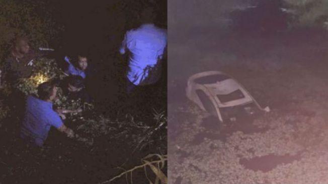 Rescatan ocupantes de carro que cayó a cuerpo de agua