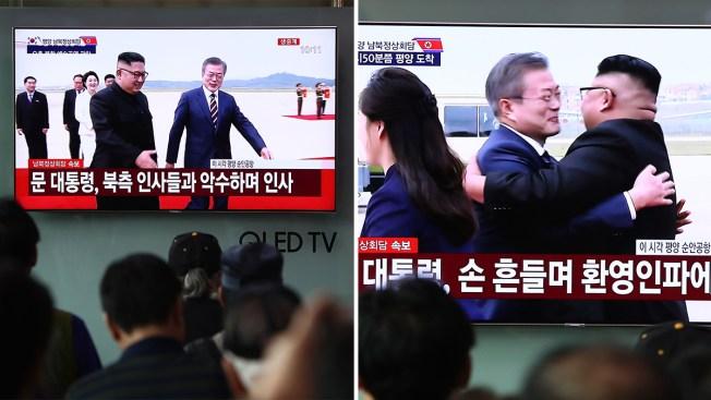 Con un emotivo abrazo: Kim Jong-un le da la bienvenida a su homólogo sureño