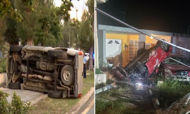 Dos autos volcados en San Juan y Aguadilla