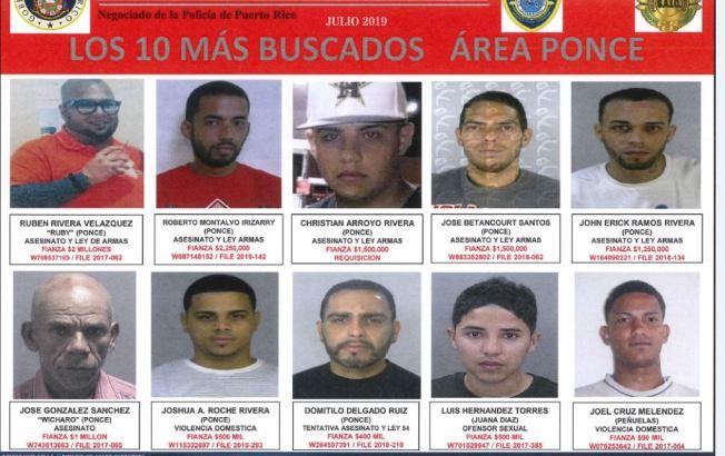Los más buscados del área de Ponce
