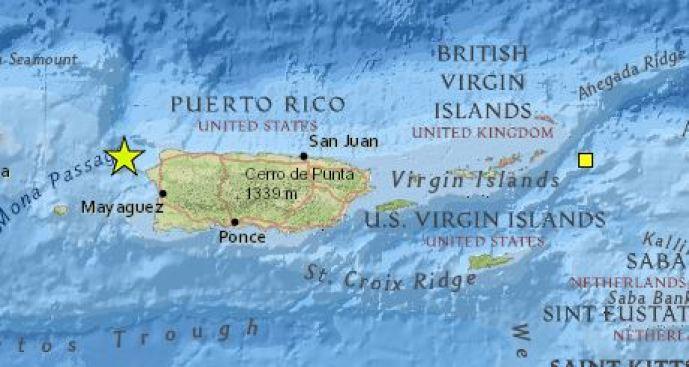 Se registra temblor en el oeste de Puerto Rico